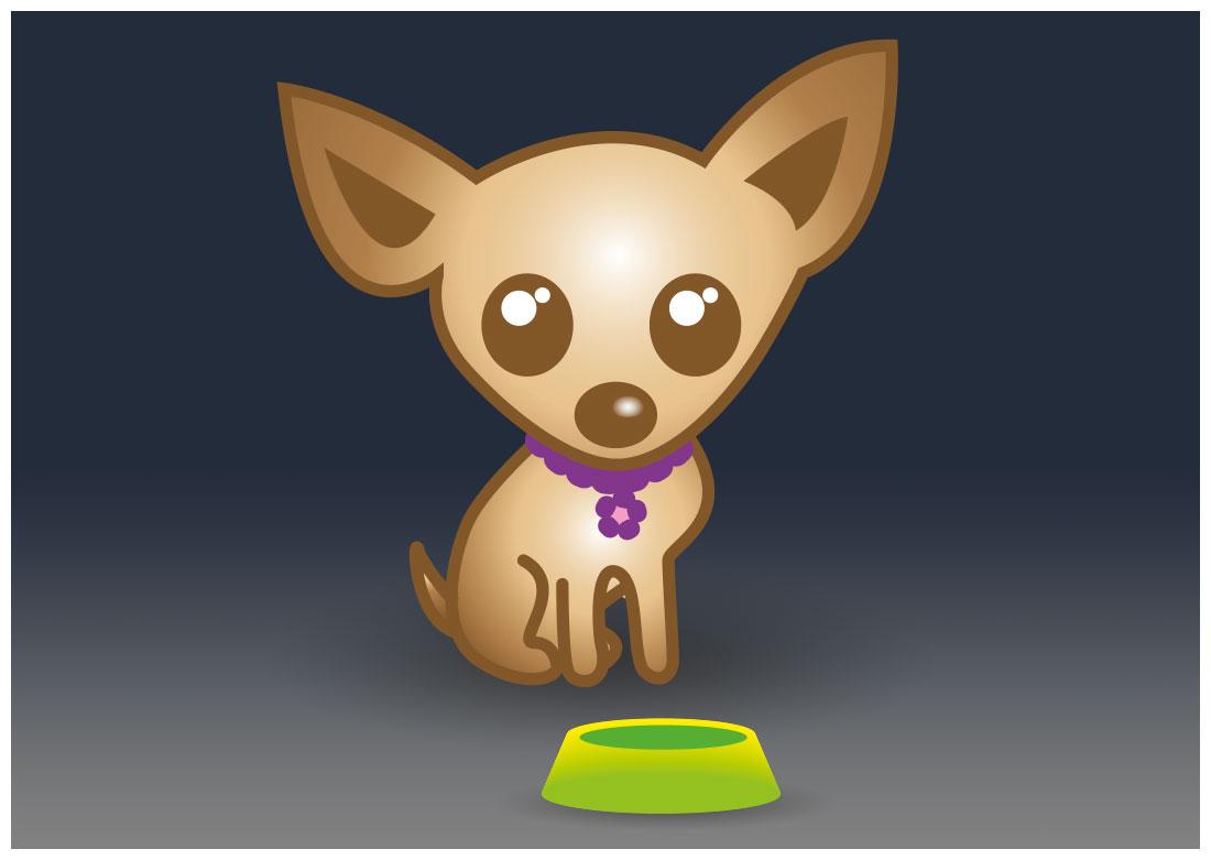 Illustration chien et gamelle