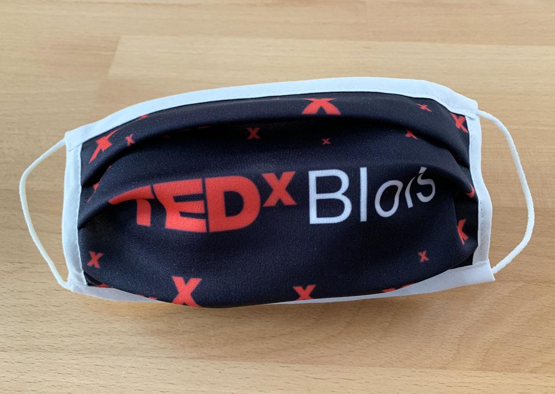Masque personnalisé TEDx déplié