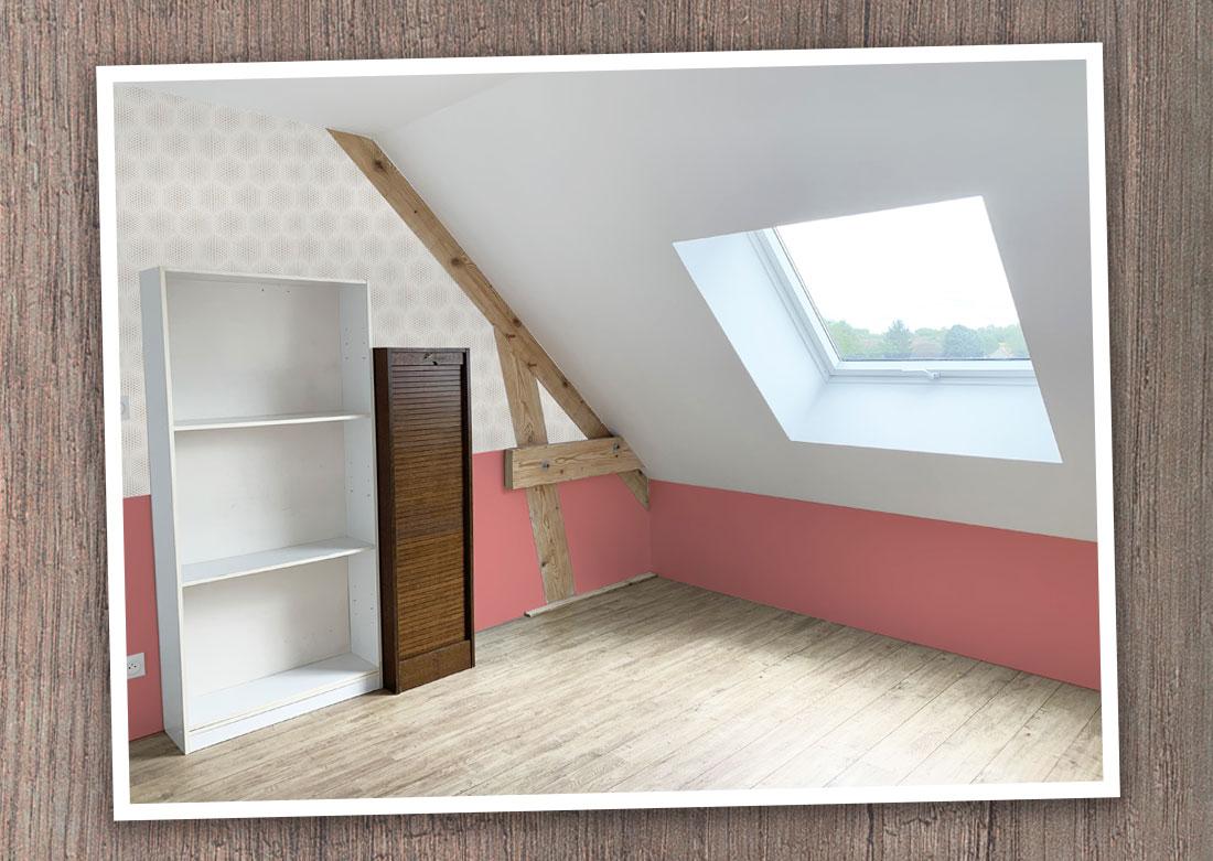 Décoration intérieure bureau côté fenêtre - Montage photo
