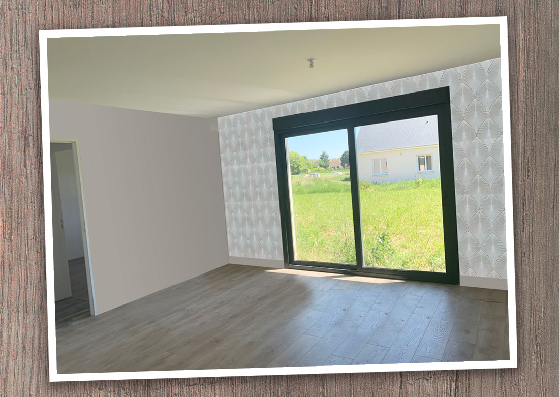 Décoration intérieure chambre côté baie vitrée - Montage photo