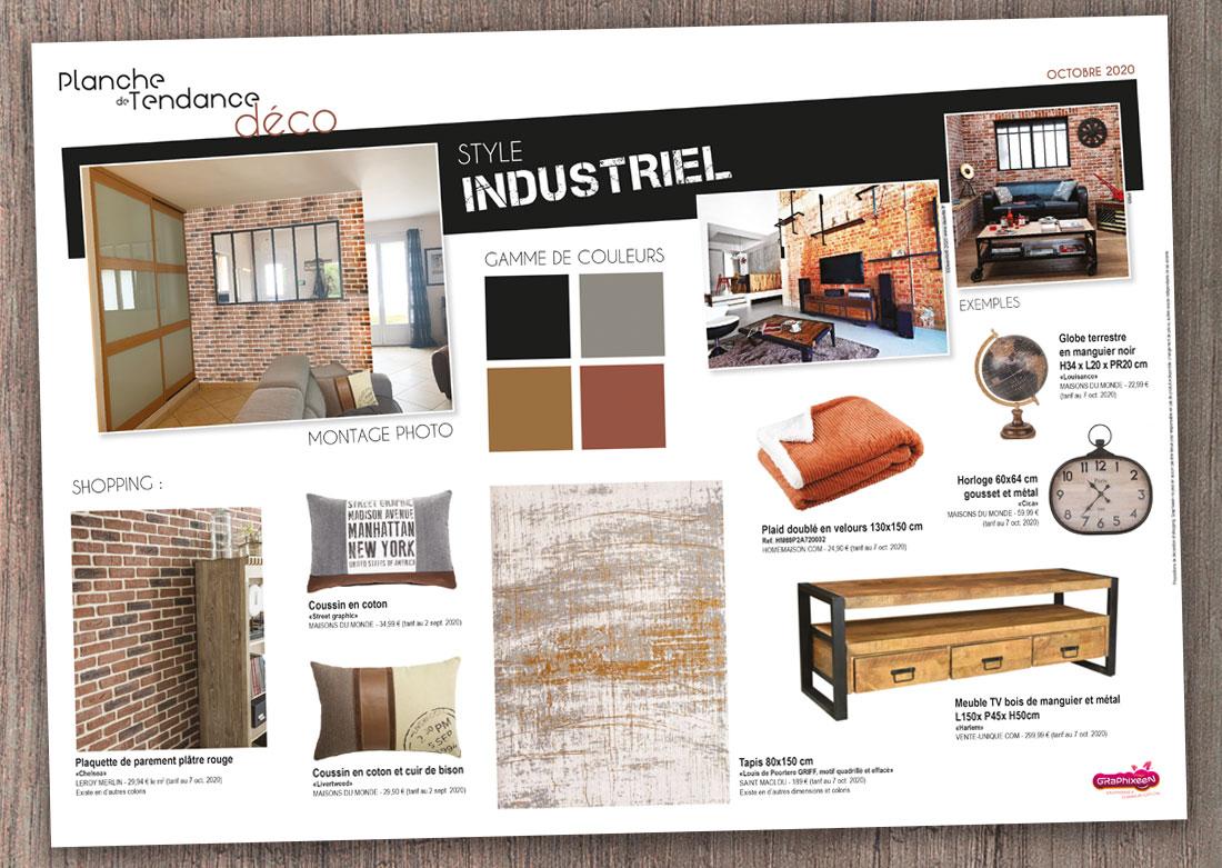 Décoration intérieure salon - Planche de tendance / shopping liste