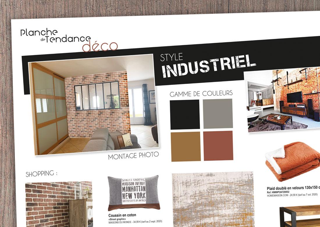 Décoration intérieure salon - Planche de tendance / shopping liste - Zoom
