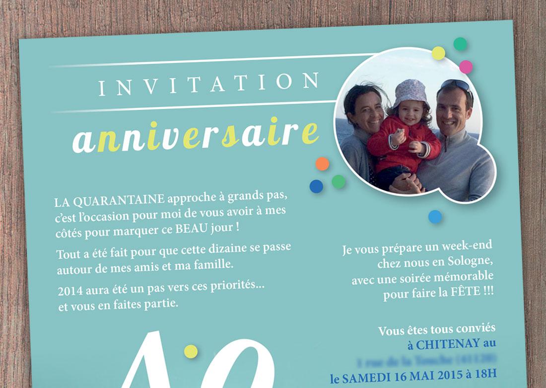 Invitation anniversaire - Zoom haut