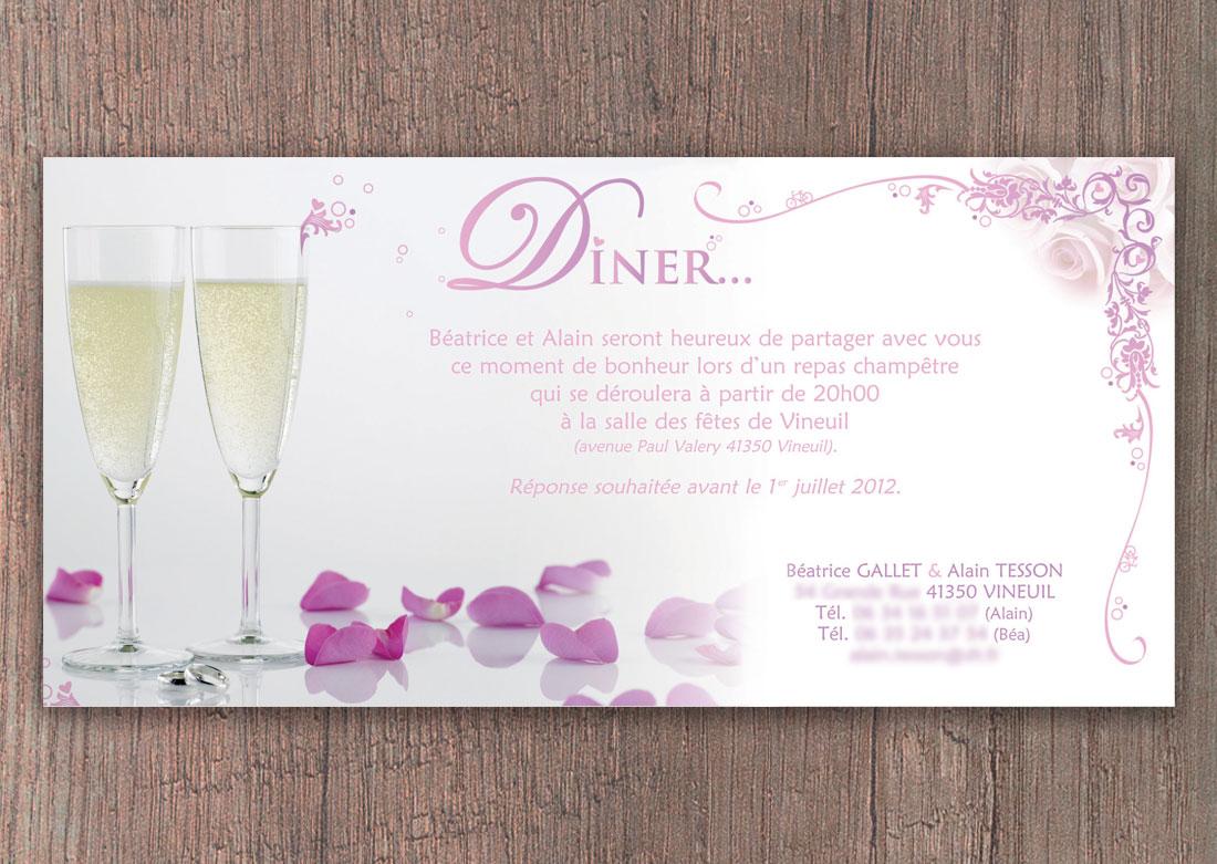 Invitation mariage - Carton d'invitation Dîner