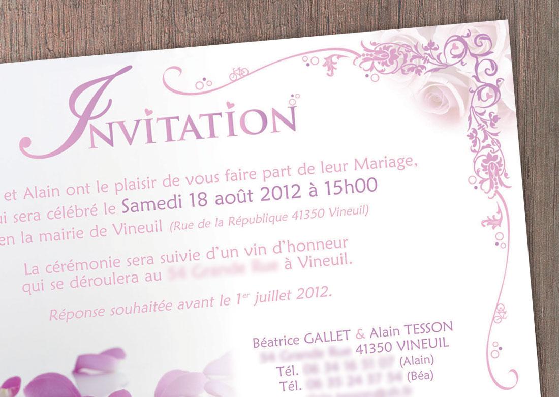Invitation mariage - Zoom