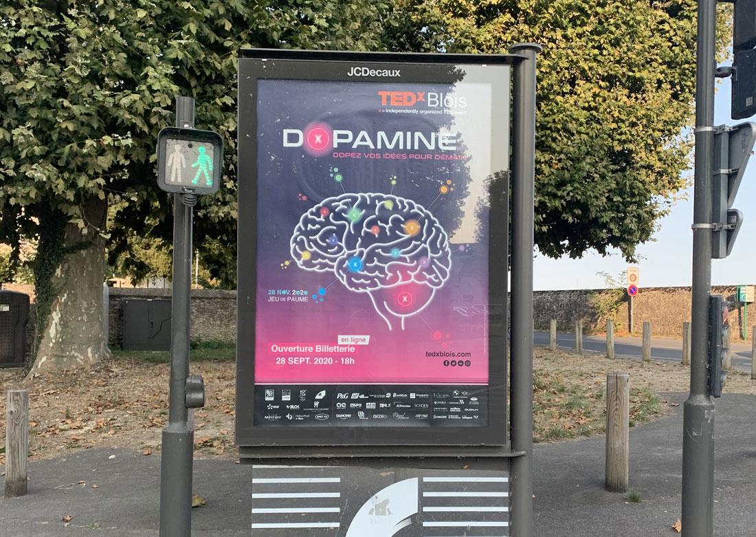 Identité visuelle TEDx 2020 - Affiche Decaux centre-ville Blois