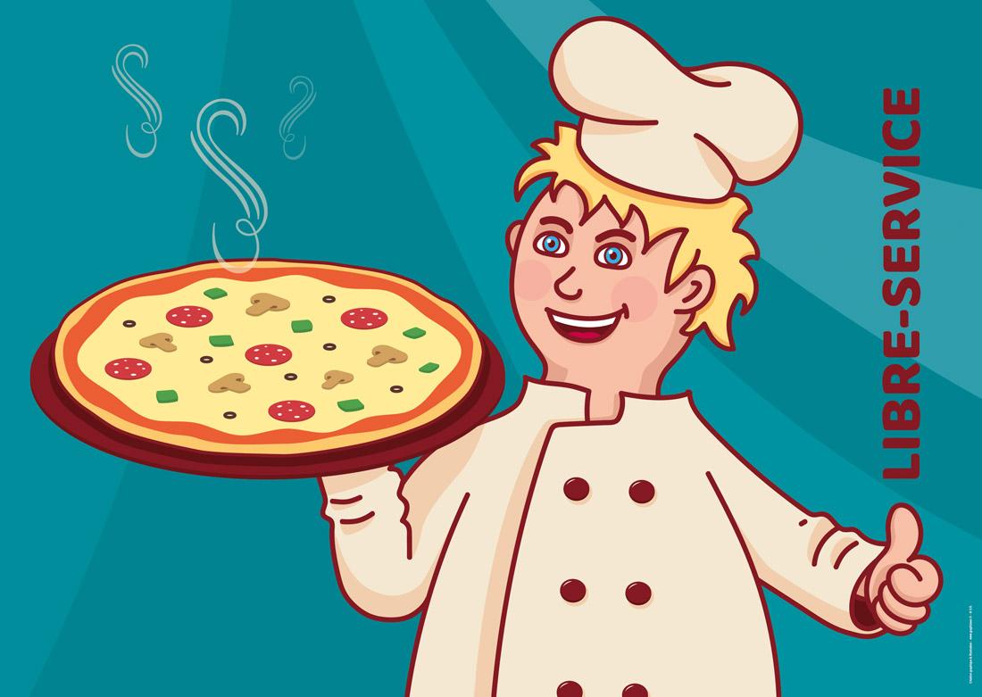 Zoom sur la bâche :  personnage pizzaïolo
